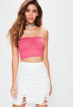 Biała spódniczka mini z wiązaniami dla wysokich kobiet