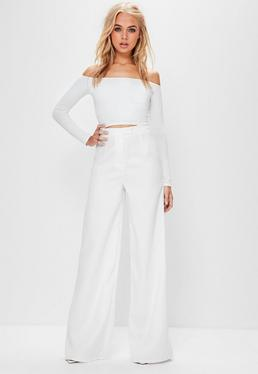Tall White Crepe Wide Leg Pants