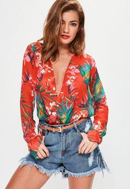 Tall Red Tropical Printed Wrap Bodysuit