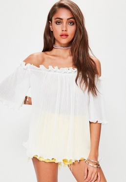 Tall White Crinkle Bardot Fluted Hem Top