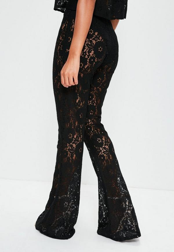 Tall Black Lace Flared Pants Missguided