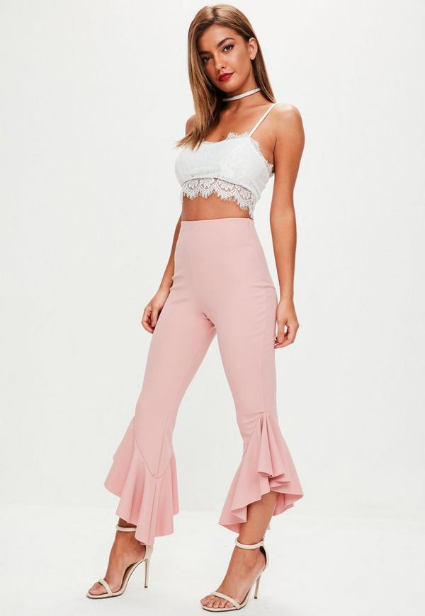 Tall Pink Frill Hem Trousers