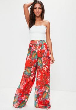Tall Red Tropical Print Wide Leg Trousers
