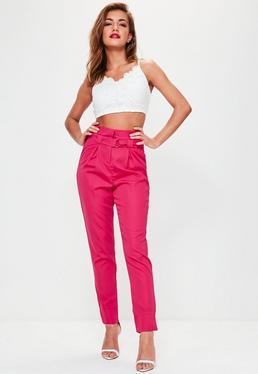 Pantalón tall de pinzas con cintura paperbag en fucsia