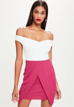 Tall Fuchsia Wrap Overlay Skirt