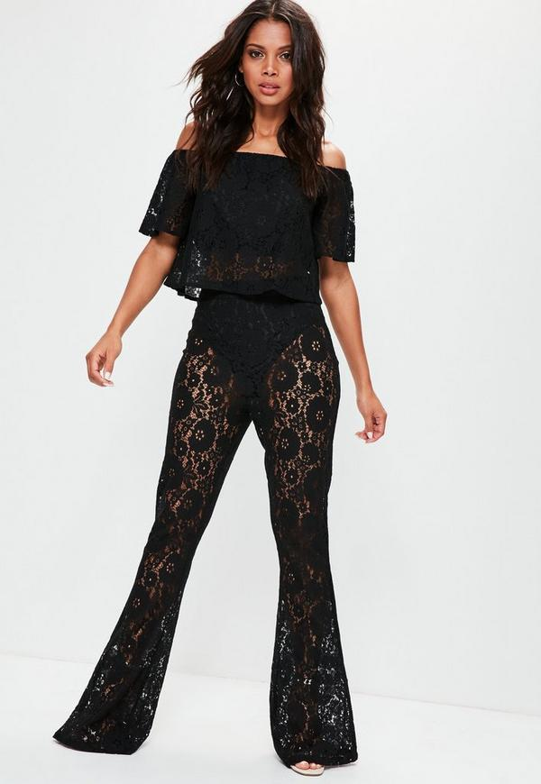 ea776ea6d847fd Tall Black Lace Bardot Top
