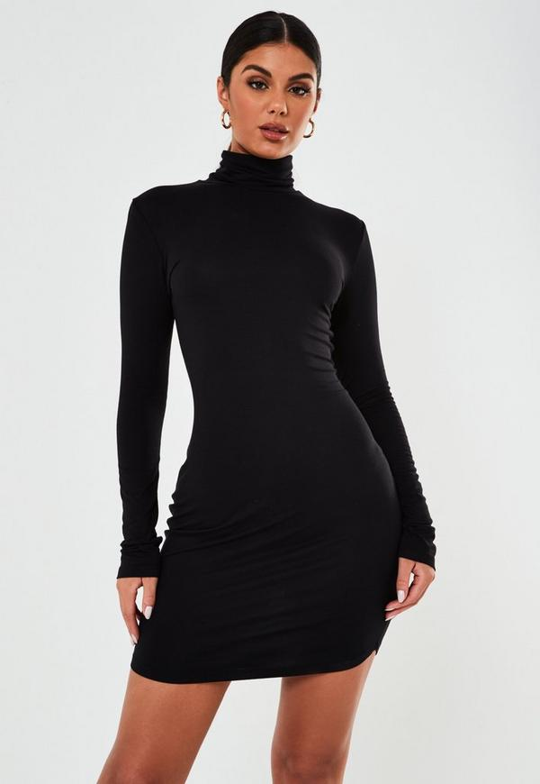 ... Tall Black Roll Neck Bodycon Dress. Previous Next 2745387c3