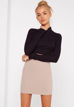 Tall Nude Scuba Mini Skirt
