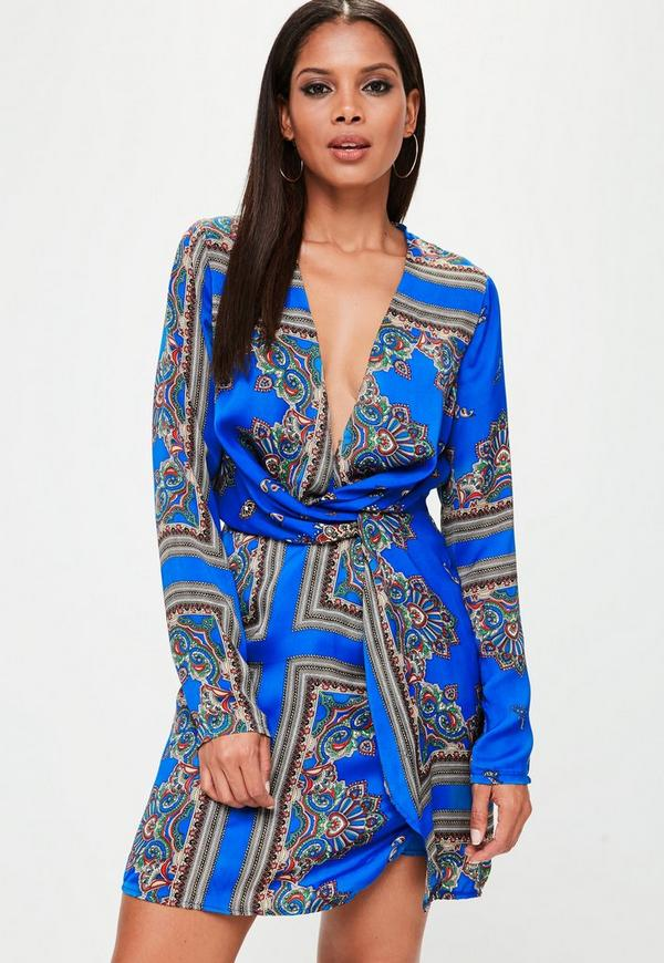 8419877606 Tall Blue Silky Wrap Dress