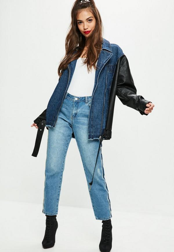 tall blaue jeansjacke mit faux leder rmeln missguided. Black Bedroom Furniture Sets. Home Design Ideas