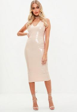 Tall Nude Vinyl Midi Dress