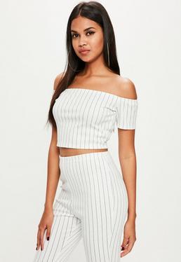 Tall White Stripe Crop Top
