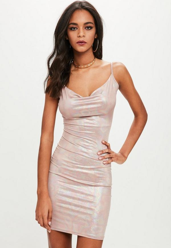 Nude Tall Metallic Cowl Stretch Bodycon Dress by Missguided