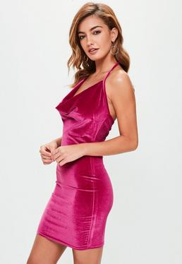 Tall Pink Velvet Halterneck Cowl Dress