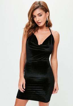 Tall Black Velvet Halterneck Cowl Dress