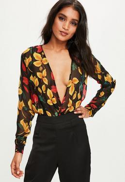 Tall Black Floral Bodysuit