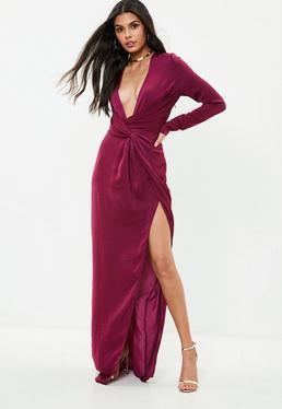 Vestido tall largo cruzado en morado