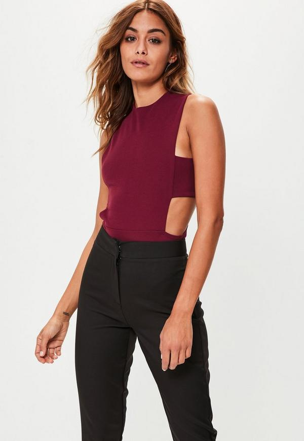 tall burgundy tab side bodysuit missguided. Black Bedroom Furniture Sets. Home Design Ideas