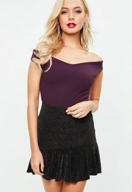 Tall Purple Bardot Crepe Bodysuit