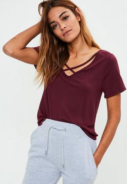 Tall Burgundy V Neck Cross Strap T-Shirt