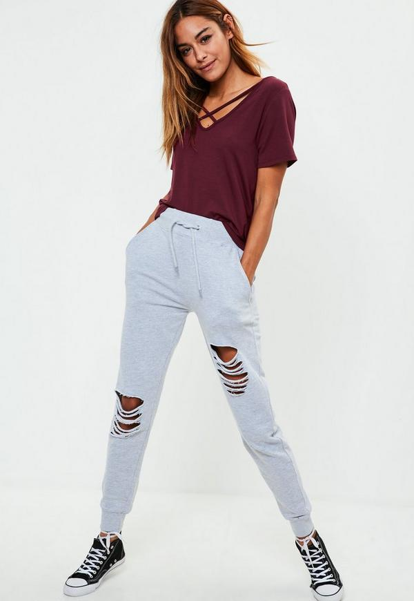 Tall burgundy v neck cross strap t shirt missguided for Tall v neck t shirts