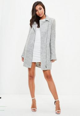 Tall Grey Faux Wool Biker Coat