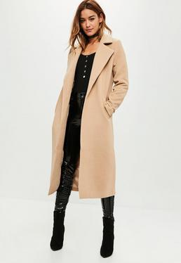 Tall Camel Longline Faux Wool Duster Coat