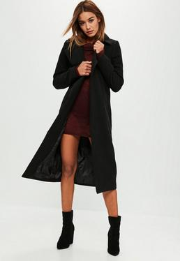 Tall Black Longline Faux Wool Duster Coat