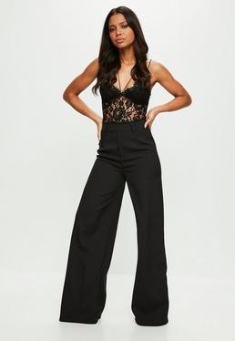Pantalón tall de traje con pierna ancha en negro