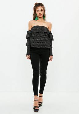 Tall Czarna bluzka bardot w kropki