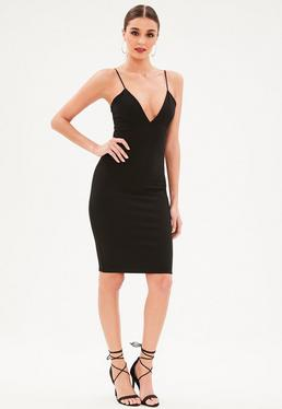 Tall Black Strappy Plunge Bodycon Dress