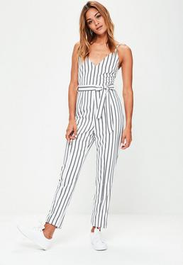 Tall White Striped Cami Jumpsuit