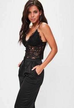 Tall Black Lace Bralet