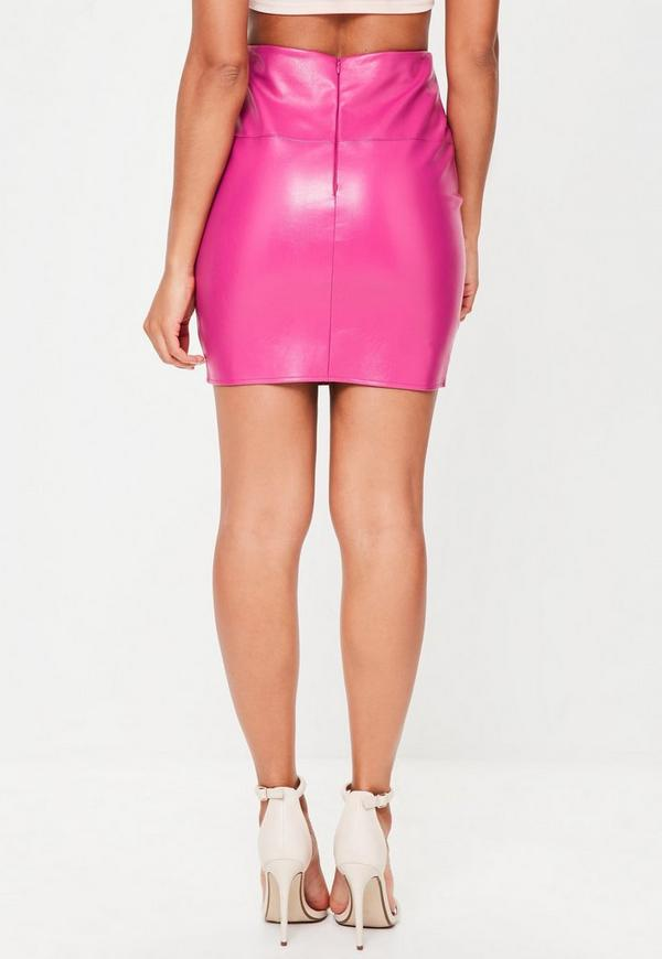 Tall Pink Faux Leather Mini Skirt Missguided