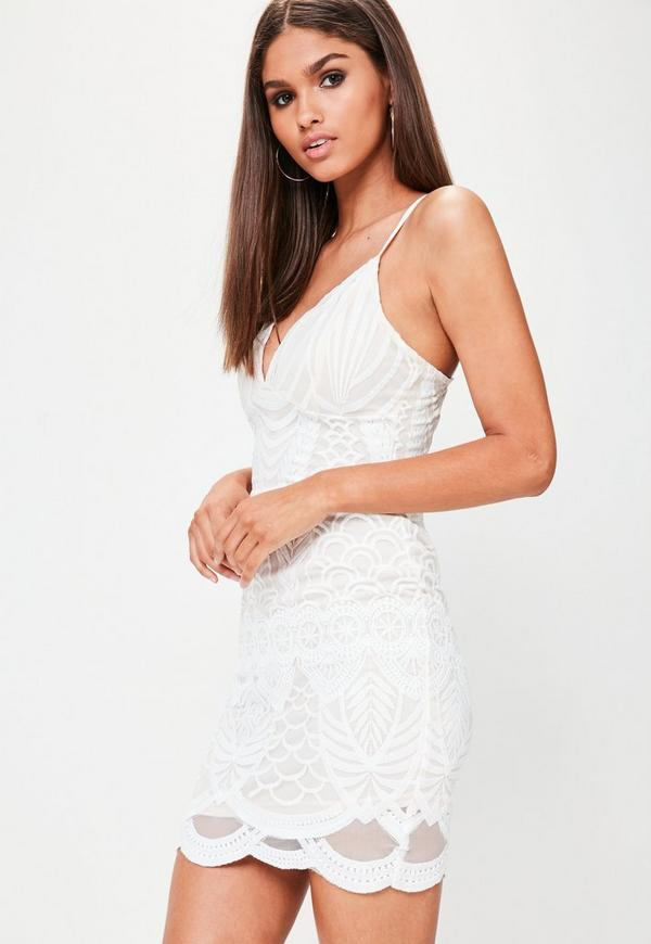 Tall White Lace Cami Dress