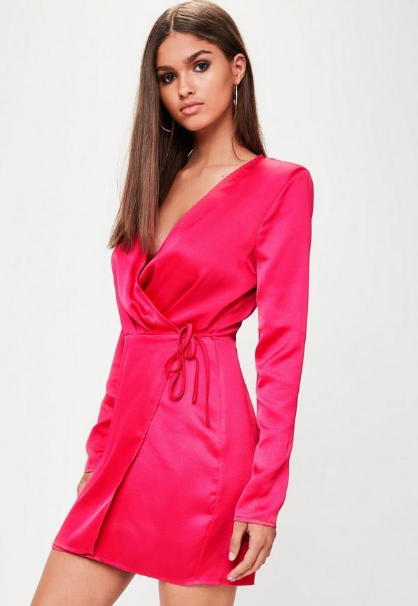 Tall Fuchsia Satin Wrap Dress | Missguided