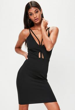 Tall Black Cut Out Strap Detail Mini Dress
