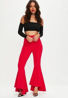 Tall Red Asymmetric Extreme Flared Pants