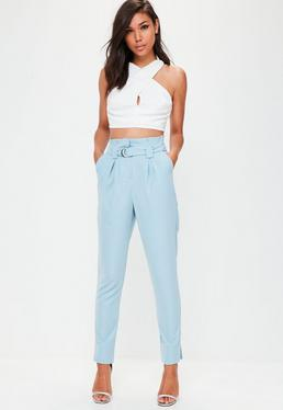 Tall Blue Paperbag Waist Cigarette Pants