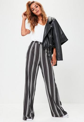 Tall Black Stripe Wide Leg Trousers Missguided