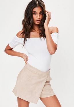 Tall Nude Faux Suede Skort