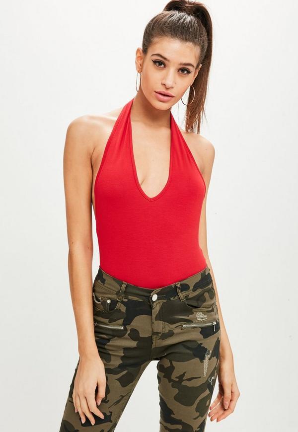 Red Deep Plunge Halter Bodysuit by Missguided
