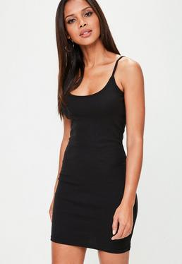 Tall Black Strappy Ribbed Mini Dress
