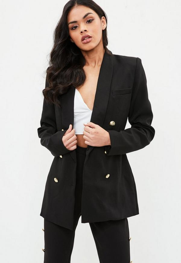 Tall Black Military Blazer by Missguided