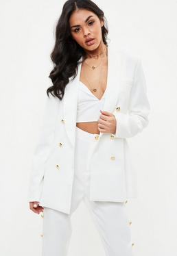 Tall White Military Blazer