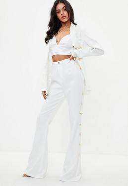Tall White Military Button Suit Trousers
