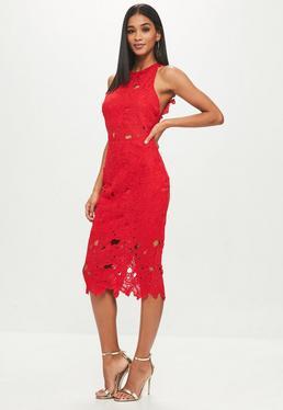 Tall Red Crochet Lace Midi Dress