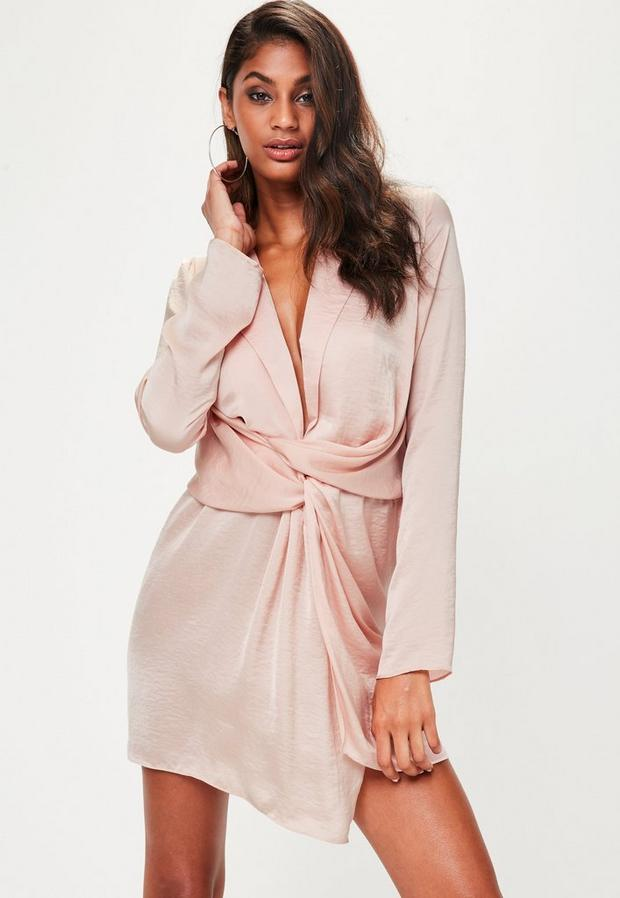 Product photo of Tall pink satin wrap plunge dress pink