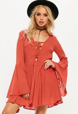 Tall Orange Cheesecloth Lace Up Frill Dress