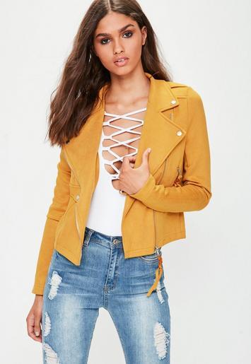 Tall yellow faux suede biker jacket missguided - Tenue avec jupe en cuir ...